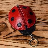 约匙包新品七星瓢虫钥匙包女卡通手工牛皮创意腰挂式多功能卡包二合一