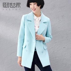 熙世界年冬新纯色双排扣中长修身长袖毛呢外套184LG007