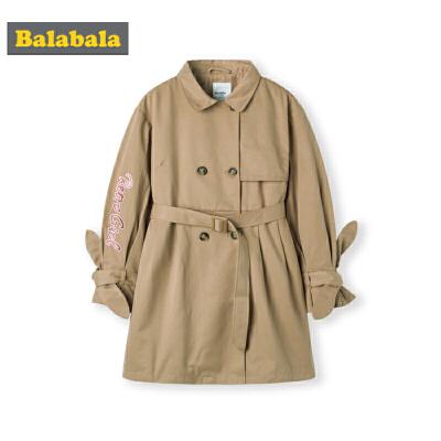 巴拉巴拉女童风衣中长款儿童外套秋装新款中大童保暖时尚洋气