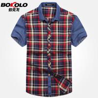 BOKOLO 伯克龙 男士经典休闲大码牛仔格子短袖衬衫 时尚男式纯棉潮男短袖 红色/绿色 BC14018