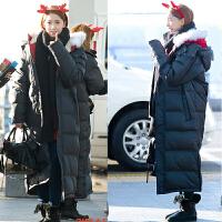 羽绒服女中长款2018新款时尚韩版修身显瘦过膝冬季白鸭绒潮加厚 黑色