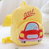 宝宝书包1-3-5幼儿园小班潮儿童可爱女孩男童卡通韩版双肩小背包 乳白色 黄色汽车