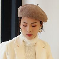 帽子女时尚韩版羊毛贝雷帽日系百搭南瓜帽复古毛呢文艺画家帽蓓蕾帽潮