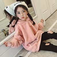 女童加绒卫衣童装2017季新款韩版儿童连帽外套女大童秋装上衣