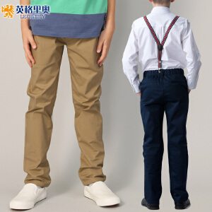 英格里奥秋装新款男童松紧腰卡其长裤中大童儿童宽松纯棉休闲单裤