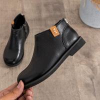 女童靴子真皮加绒短靴2018新款儿童马丁靴男童冬季韩版单靴公主靴