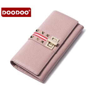 【支持礼品卡】DOODOO2018新款女士钱包真皮长款钱夹时尚潮流锁扣小手包 D6694