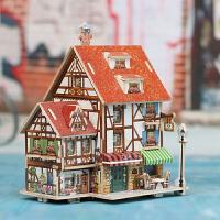若态科技 法国风情 木质小屋别墅 3D立体拼图模型DIY儿童手工制作