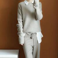 年末清仓圆领加厚不规则100%纯羊绒衫女长袖打底针织套头宽松毛衣