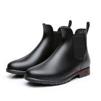 雨鞋女时尚低筒胶鞋防滑雨靴黑加绒保暖大码女士套鞋水鞋 加棉