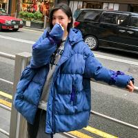 2018冬装新款棉衣女韩版学生宽松面包服中长款连帽羽绒外套潮