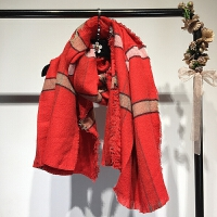 女装 韩国条纹红围巾女冬季韩版双面加厚保暖长款百搭