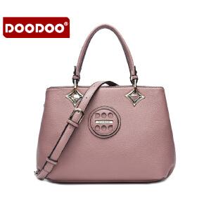 【支持礼品卡】DOODOO 包包2017新款时尚女包欧美风简约OL手提包休闲多隔层单肩斜挎女士包包 D6087