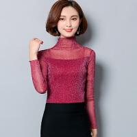 T恤 女士高领木耳边亮丝网纱长袖套头衫2019年秋季新款韩版时尚女式性感修身女装打底衫