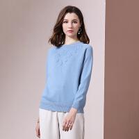 毛衣 女士圆领立体绣花长袖毛衣2020年冬季新款欧美时尚潮流女式修身洋气女装打底衫