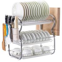 三层厨房置物架落地沥水碗碟架放碗洗碗滴水碗架收纳架子碗盘用品 B字主架+3白盘+筷子筒+砧板架 送工具+挂钩+刀