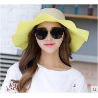 可折叠防晒太阳帽大沿草帽帽子女士遮阳帽夏天防紫外线大檐沙滩帽