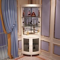 欧式实木角柜墙角柜三角弧形酒柜现代简约客厅转角柜角落柜储物柜 象牙白 组装
