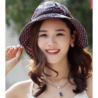 韩版时尚休闲女士遮阳帽防晒沙滩帽波点圆顶大檐太阳帽子户外出游大沿帽子防紫外线