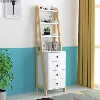 北欧斗柜简约现代实木书架置物架摆件装饰落地靠墙客厅梯形多层架 组装