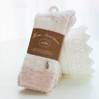 日系可爱珊瑚绒地板袜子女棉袜冬季加厚保暖睡眠袜月子女短袜 浅粉粗条 均码