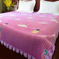 加柔加密水晶绒床盖毛毯绗缝金丝绒床单珊瑚绒防滑垫毛绒毯子 紫红色 云朵草莓