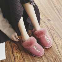 厚底防水棉拖鞋女秋冬季家居家用室�惹�H防滑保暖地板毛毛拖鞋男