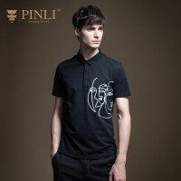 PINLI品立2020夏季新款男装修身绣花短袖T恤POLO衫上衣B202212141
