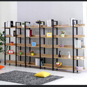 柏易 环保加厚清新款背板钢木书柜 小户型多层书橱组合书架置物架货架展示架