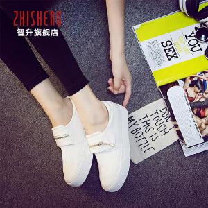 2018春季懒人鞋女一脚蹬韩版女鞋学生帆布鞋女魔术贴白色板鞋女小白鞋
