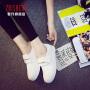 2018秋季懒人鞋女一脚蹬韩版女鞋学生帆布鞋女魔术贴白色板鞋女小白鞋