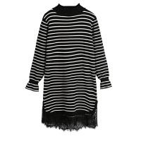 春秋季新款韩版半高领蕾丝拼接中长款针织连衣女裙条纹打底毛衣裙
