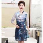2017夏季新款中年女装妈妈装短袖两件套连衣裙       bjB2139-17851