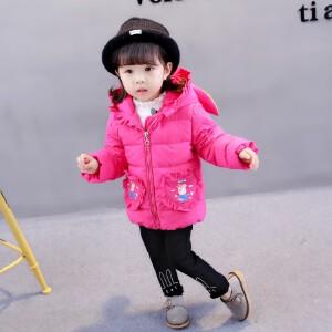 【满200-100】百槿 冬季女童兔耳连帽卡通小猪印花棉服 中小童可爱连帽兔耳卡通棉服