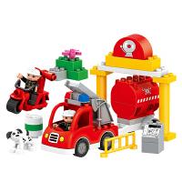 大颗粒积木玩具拼装消防救援拼插儿童玩具3-6岁 消防救援86颗粒