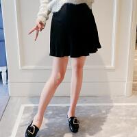 孕妇托腹短裙2017新款秋装外穿半身裙韩版打底A字裙时尚孕妇裙 黑色