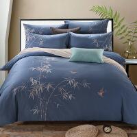 家纺纯色四件套全棉纯棉素色绣花双人床单被套1.8m床上用品