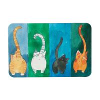 日式卡通硅藻泥地垫浴室吸水门垫卫生间速干硅藻土脚垫防滑垫大号 四个猫咪 60 * 39cm