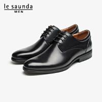 莱尔斯丹 男鞋时尚商务正装圆头系带粗跟低跟男单鞋皮鞋德比鞋LS ATM31970
