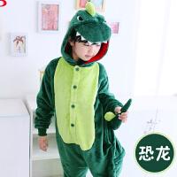秋款儿童恐龙连体睡衣女童大小男孩法兰绒可爱卡通动物童装如厕
