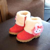 女童雪地靴2018冬季新款童鞋儿童靴子公主鞋加绒1-3岁0棉鞋2宝宝4