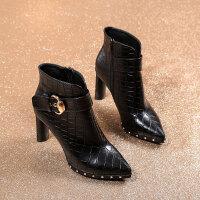 小跟短靴女秋冬2018新款尖头粗跟高跟鞋时尚马丁靴黑色女靴子 黑色 内里绒