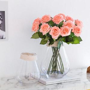 【每满100减50】幸阁 插花美式乡村麻绳透明玻璃花瓶 饰家家居客厅插花摆件