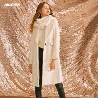 【3折到手价:780元】爱客白色毛呢大衣KY742D002C毛呢