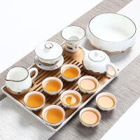 【家装节 夏季狂欢】日式茶具套装家用简约干泡办公盖碗茶壶茶杯粗陶整套陶瓷功夫 +茶盘