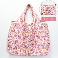 日系卡通折叠便携环保袋手提袋水大容量市收纳袋购物袋买菜包 粉红色 L2133/ 横向大号