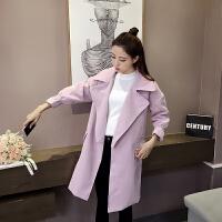 妮子大衣女秋冬新款韩版小香风中长款宽松茧型毛呢外套甜美百搭潮