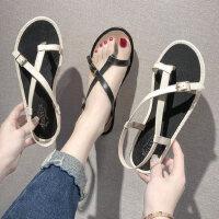 时尚女士海边度假沙滩鞋 夹趾平底罗马鞋女 新款气质凉鞋女ins潮鞋
