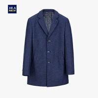 HLA/海澜之家西装领针织大衣保暖毛呢大衣外套男