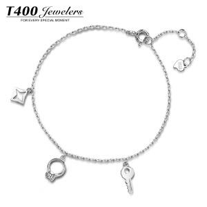 T400s925银饰手链女韩版简约学生森系 戒指手链一体链 几何配饰品 3743